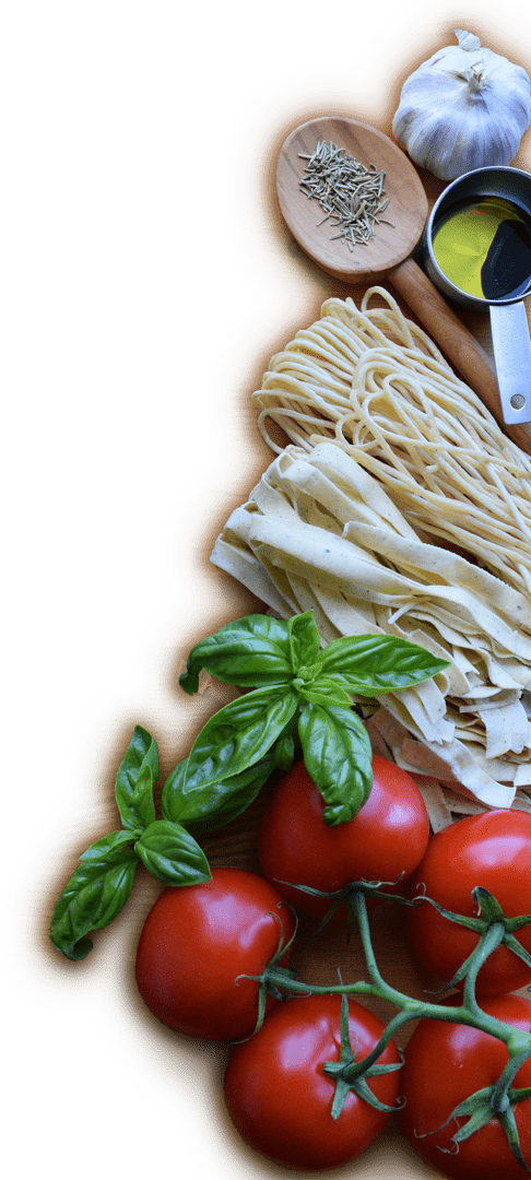 pasta and tomatoes and spices
